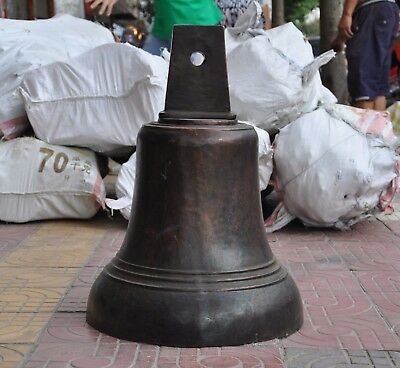 Ancient old Chinese dynasty Buddhism temple pure bronze Bell Zhong Clock statue