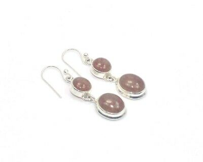 925 SOLID STERLING SILVER CHERRY QUARTZ HOOK EARRING-1.6 INCH Lm389