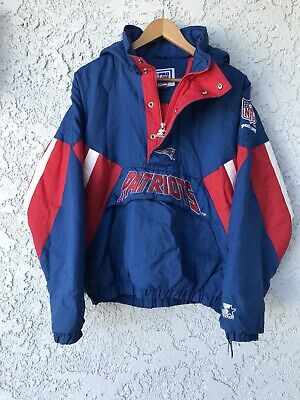 finest selection 06ed2 6b3de VINTAGE NEW ENGLAND Patriots Starter NFL Pullover Parka XL Blue Jacket Tom  Brady