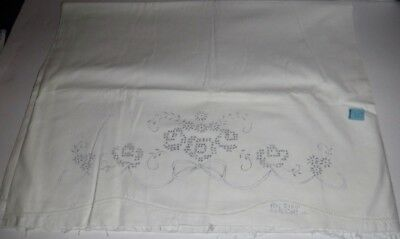 Vtg Set of 2 Stamped to Embroider Cotton Pillowcase Tubing Flowers Ribbon #21001