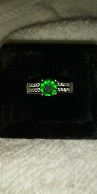 Sterling Silver .925 Lab Created Emerald And Cubic Zirconia Ring