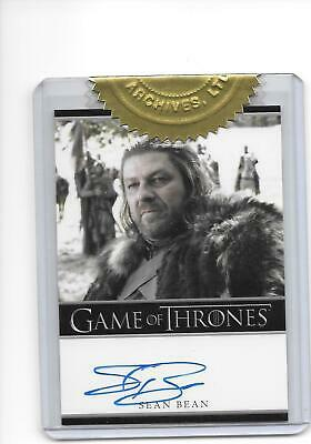 Game of Thrones Season 1 Sean Bean as Lord Eddard Ned Stark Bordered Auto A