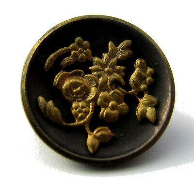 STUNNING Vintage Antique 1880s Victorian Tinted Applied Brass Button Flowers