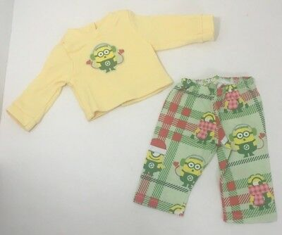 """15"""" doll clothes hand made pajama outfit Christmas Minions Despicable Me set"""