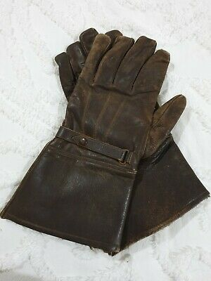 Vintage Flying / Motorcycle Gauntlet Fur Lined Leather Gloves. Over 60 Years Old