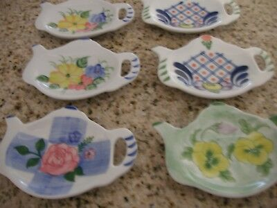 REDUCED Very Nice Tea Bag Holders Porcelain Set of 6 NEW