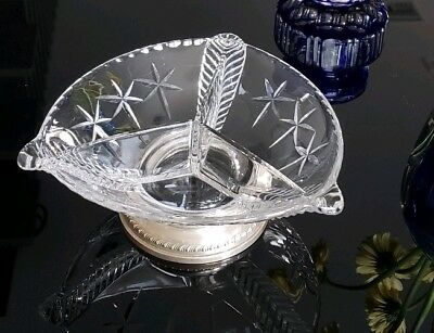 Vintage Sterling Etched Glass Platter/3 Part Divided with Sterling Silver Dish