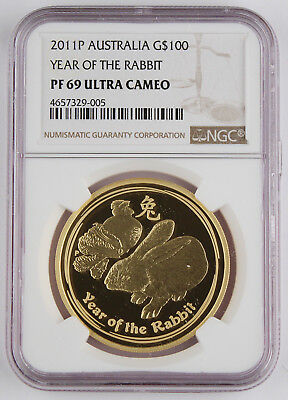 Australia 2011 1 Troy Oz 9999 Gold $100 Year of Rabbit Coin NGC PF69 UC @SCARCE@