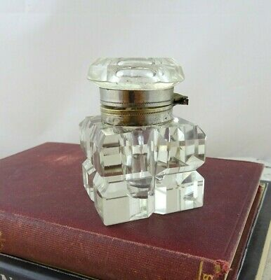 Small Vintage Cut Glass Inkwell with Hinged Lid