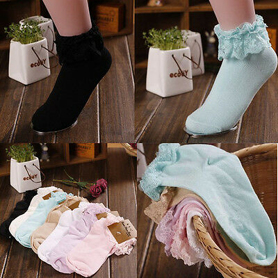 Girl Cute Sweet Women Ladies Vintage Lace Ruffle Frilly Ankle Socks