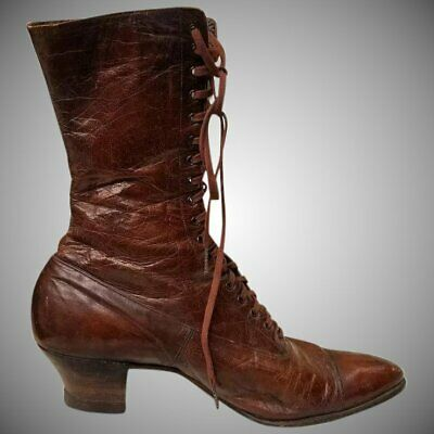 SPRING SALE! Vintage Victorian EDWARDIAN LEATHER Granny Boots Shoes 6 1/2- 7