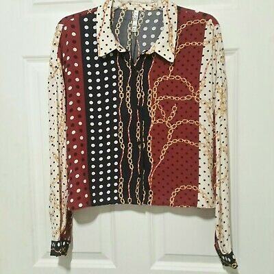 462ee539 ZARA WOMAN'S DOUBLE Frill Chain Print Long Sleeve Blouse Size M ...