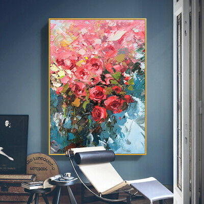 VV893 Modern 100% Hand-painted oil painting on canvas Abstract Flower Rose