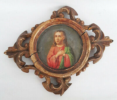 Antique 19th Century Russian Hand Painted Wooden Icon of St.Hope