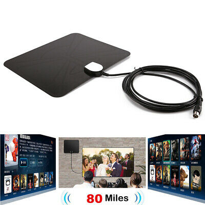 Digital 80 Mile HDTV Indoor Antenna Aerial HD TV Signal Amplified Booster Cables