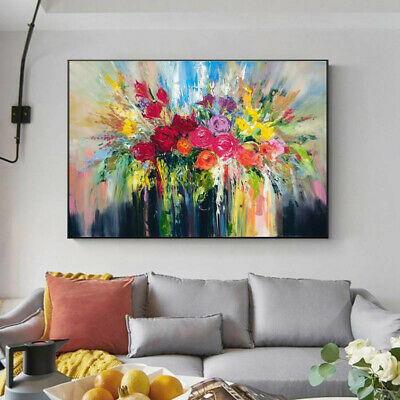 VV896 Modern 100% Hand-painted oil painting on canvas Abstract  Flower Rose