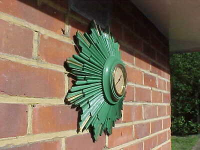 Large 16 Inch Swiss Green Sunburst Starburst Wall Clock