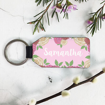 Personalised PU Leather Rectangle Keyring, Gift for her, Pink Floral Custom Name