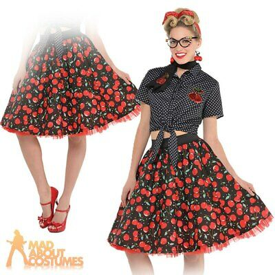 Ladies Rockabilly Skirt Adults 1950s Pin Up Girl 50s Rock N Roll Fancy Dress
