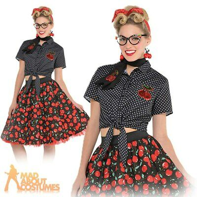 63f592102cc56 Ladies Rockabilly Blouse Top 1950s 50s Pin Up Girl Adults Fancy Dress  Costume