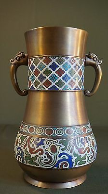 Very Fine Large Early 1900 Chinese Cloisonne Vase with Figure Handles