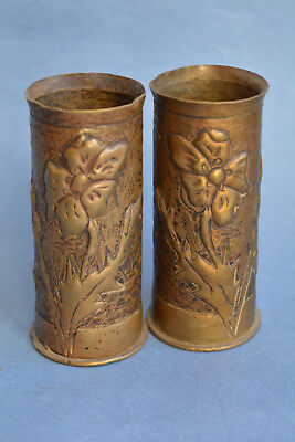 Pair of antique French WWI Shell case trench Art Vases # 2