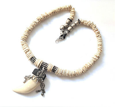 Hand Crafted Ethiopian Antique ostrich egg shell beads Bone Pendant Necklace
