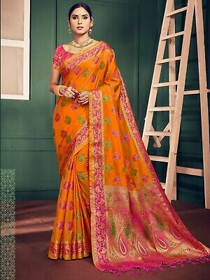 Bollywood Saree & Blouse Indian  Orange Woven Banarasi Kanjivaram Art Silk -1276