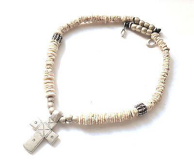 Ethiopian Antique ostrich egg shell beads Coptic Christian Cross Necklace
