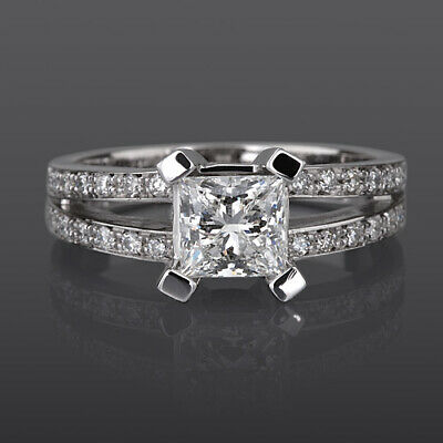 Vs 2 Ct Solitaire Princess With Accents Real Diamond 18K White Gold Wedding Ring
