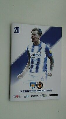 Colchester United v Newport County football programme 9th March 2019
