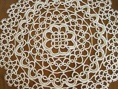 Clearance Vintage Style Hand Tatting Lace Round Cotton Doily Beige 28cm