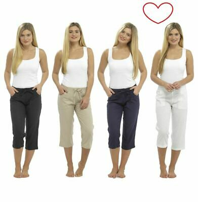 Ladies Girls Cropped Line Trousers Pants Summer Casual 3/4