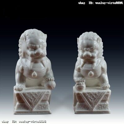 Chinese Pottery Dehua White Porcelain Fu Foo Dog Lion Beast Animal Statue A Pair
