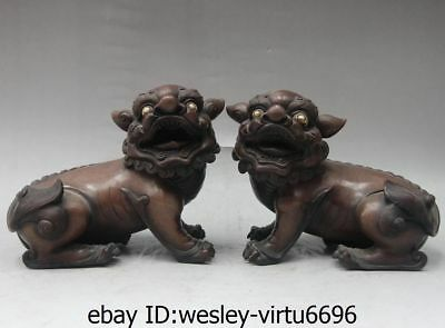 Chinese Palace Feng Shui Pure Red Copper Evil Fu Foo Dog Lion Beast Statue Pair