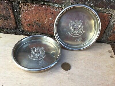 Pair Vintage Heavy Silver Plated Wine Coasters Dishes Royal Exchange Assurance