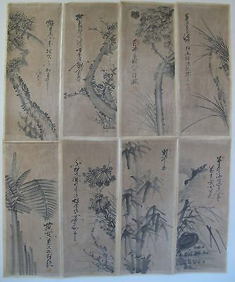 Rare Korean Joseon Dynasty SooMookHwa Blk Ink 8 Panel Screen Paintings on Cotton