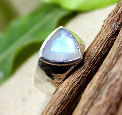 Natural Blue Rainbow Moonstone Gemstone 925 Sterling Silver Mens Ring Jewelry
