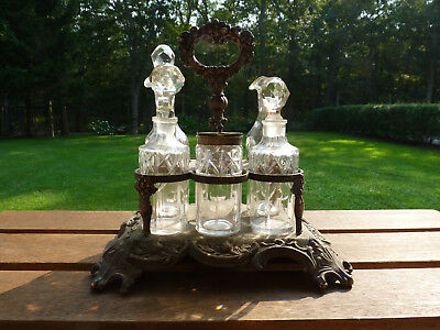 Antique Silver Plate Cruet Set Cut Crystal Circa Late 1800's
