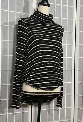 Free People We The Free Turtleneck Top Long Sleeve Striped Raw Hem Black Xs