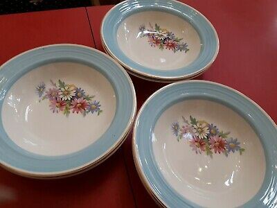 Six vintage  George Clews pudding / sweet bowls, flowers, shabby chic ,  floral