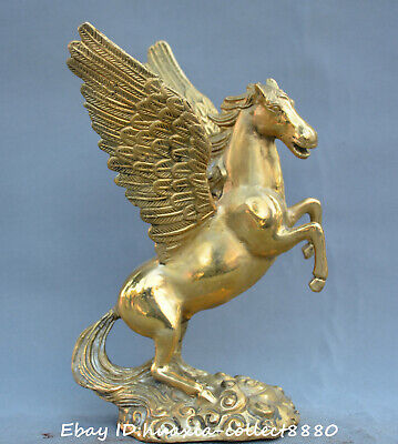 """10""""Chinese fengshui old Bronze Fortune yuanbao horse Pegasus money wealth Statue"""