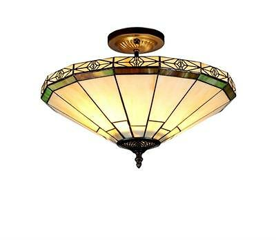"""Stained Glass Chloe Lighting Mission 2 Light Semi Flush Ceiling Fixture 16"""" Wide"""