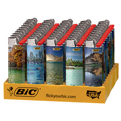 """50 x BIC Lighter """"Landscape"""" Series, Full Tray, New, Same Day Express Shipping"""