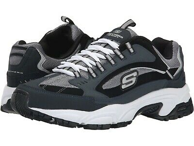 SKECHERS MEN'S STAMINA Cutback Low Top Sneaker Shoes Black