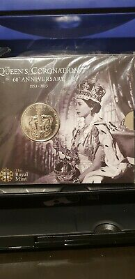 2013 QEII 60th Queen's Coronation UK Royal Mint £5 Five Pound Coin Unc.