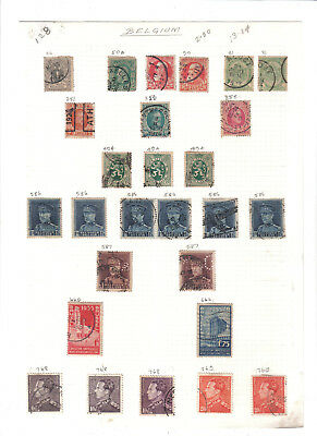 (AP136)Belgium.27 stamps on old album page.