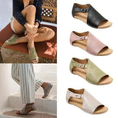 Women Summer Retro PU Leather Flat Sandals Ladies Casual Beach Shoes Size 4-7.5