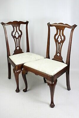 Pair Georgian Mahogany Chairs - Chippendale Regency Dining Kitchen Desk Chairs