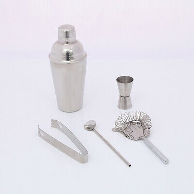 5 teiliges Cocktail Shaker Set Cocktail Edelstahl Glas Bar Mixer silber 750 ml